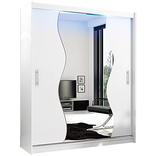"Ye Perfect Choice Modern Bedroom Mirror Sliding Doors Wardrobe /""AVA 4/"" 4.9ft 150cm Black, With LED"