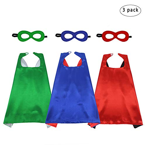 D.Q.Z Kids Superhero Capes and Masks Set Costumes for Girls Boys Pretend Play Dress Up Party Favors,3 Pack -