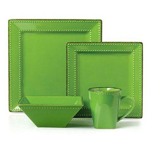 16 Piece Square Beaded Stoneware Dinnerware Set (Green)