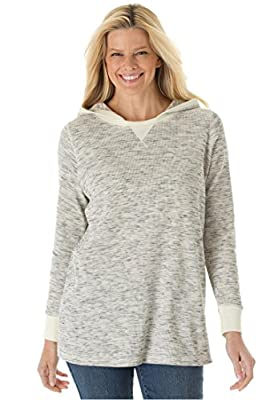 Women's Plus Size Marled Thermal Knit Sweatshirt Hoodie Tee