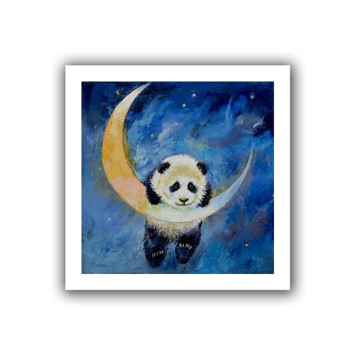 Panda Canvas Reproduction - ArtWall Panda Stars Unwrapped Canvas Art by Michael Creese, 18 by 18-Inch