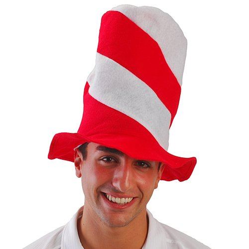Red and White Striped Stove Pipe Hat Package of 6 (Red And White Striped Felt Hat)