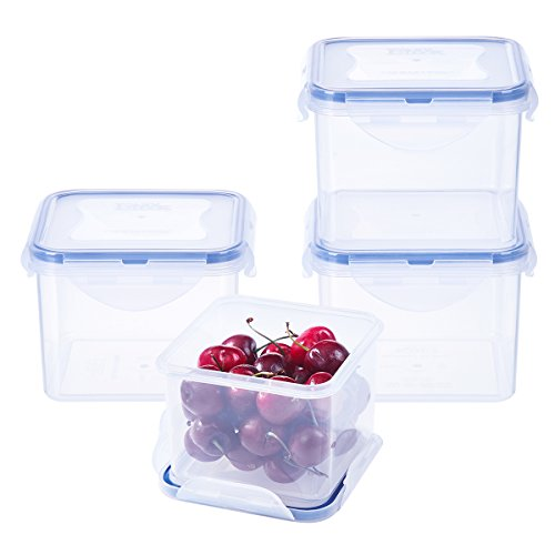 Cups Snack 3 (LEXINGWARE 3-Cup Plastic Food Storage Containers Set BPA Free Airtight Lids Microwave Meal Prep Bowls 700ml×4)
