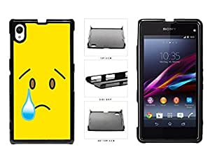 Bright Yellow Sad with Tear Face Plastic Phone Case Back Cover Xperia Z1