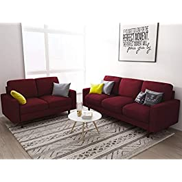 US Pride Furniture Macsen 2 Piece Living Room Set, Burgundy