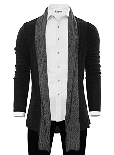 TAM Ware Mens Classic Fashion Marled Open-Front Shawl Collar Cardigan TWGG1308-1008-BLACK-US M by Tom's Ware