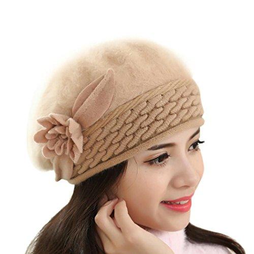 haoricu Beret Cap, Fashion Womens Flower Knit Crochet Beanie Hat Winter Warm Cap (Khaki 1)