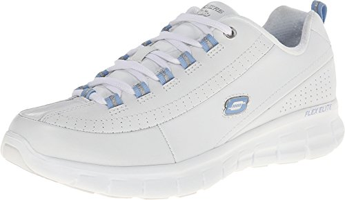 Skechers Leather Lace Up Sneakers (Skechers Sport Women's Synergy Elite Status Training Sneaker,White/Blue Leather,9 M US)