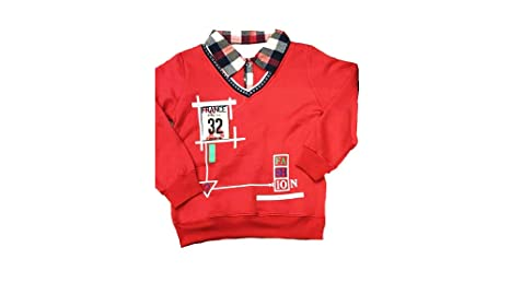 2efb95fa55fcac Winter wear Collar T-Shirt for Baby Boys Printed Design Red-3-4 Years   Amazon.in  Baby