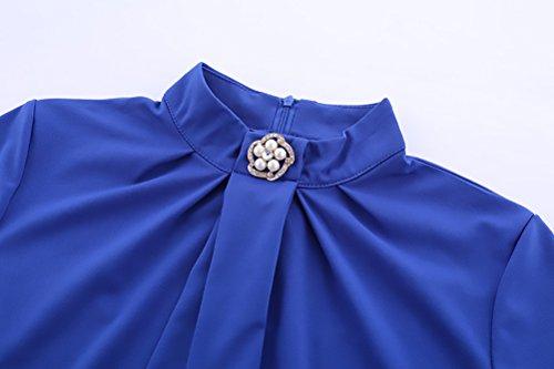 Vestidos Sencillos Cuello Vestidos Elegantes Ajustados Tubo Moda Rodilla Stand Vintage De Cortos Vestidos Azul Fiesta Mujer Rodilla De Jovenes 3 4 Y Noche De Manga Lapiz Vestidos Cóctel De wRqC66dO
