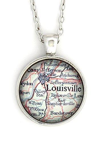 Louisville Kentucky City Map Necklace Silver Tone NV40 Hometown Pendant Fashion Jewelry -