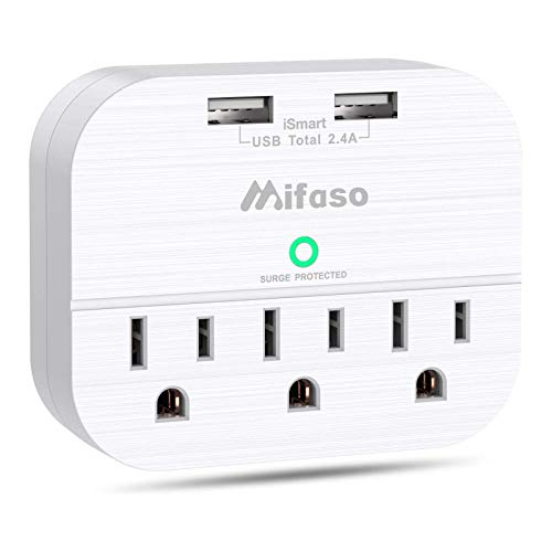 3 Outlet Surge Protector, Multi Plug Outlet Extender with 2 USB Wall Charger (Smart 2.4 A), Outlet Wall Adapter Power…