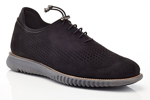 Solo Mens Graham Casual Perforated Fashion Oxford Sneaker Black Suede AM3p6u5k