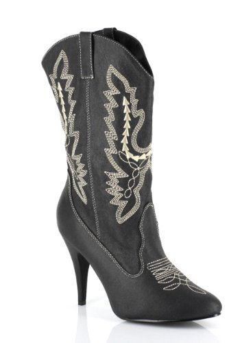 Ellie Shoes Women's 4 Inch Heel Ankle Cowgirl Boot with Stiletto Heel (Black;9)