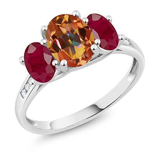 10K White Gold Diamond Accent Oval Ecstasy Mystic Topaz Red Ruby 3-Stone Ring 2.50 Ct, Available in size (5,6,7,8,9)