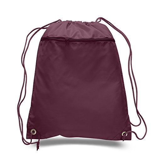 Cinch Sack Drawstring Tote Promotional Backpack Foldable Gym Sack Bag for Running, Shopping, Workout, Maroon, Set of 50 by Jumbuzz