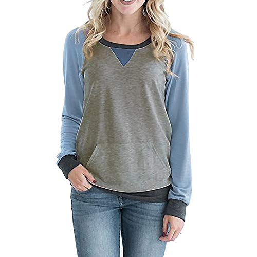 Clearance Women Tops LuluZanm Color Block With Pockets Sweatshirt Women Casual Round Neck Long Sleeve T Shirt