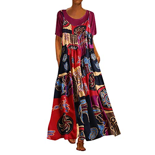 - Women Plus Size Dress,Ladies 2PCS Patchwork Print Vintage O-Neck Short Sleeve Loose Beach Casual Maxi Dress