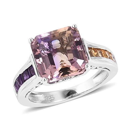 Promise Ring 925 Sterling Silver Ametrine Amethyst Jewelry for Women Size 8