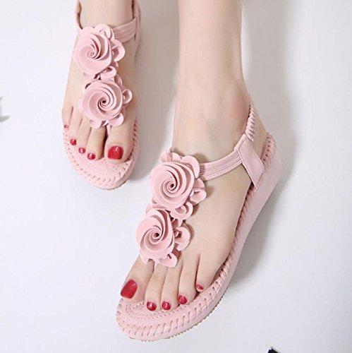 KHSKX-Rosa 4 Cm Sommer Hang Mit Sandalen Damenschuhe Floral Biskuitteig Mädchen Sandalen High Heeled Dicke Sandalen 36
