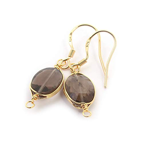 Natural Stone Wire Wrap Dangle Drop Earrings Gold Plated 925 Sterling Silver Hook/Smoky Quartz Oval