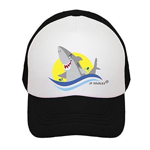 (JP DOoDLES Shark on Kids Trucker Hat. Kids Baseball Cap is Available in Baby, Toddler Youth Sizes. (Black, Youth 5-7YRS))