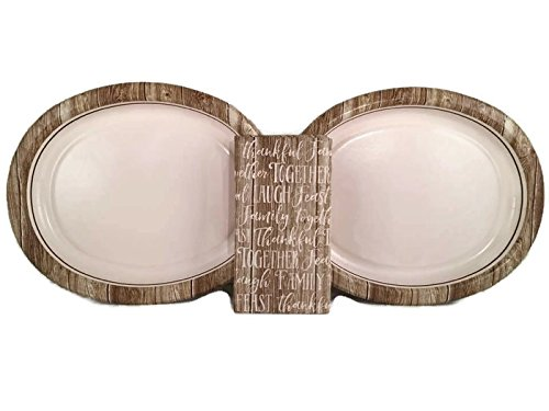 Rustic Barn Woodgrain Oval Banquet Plates and Napkins Bundle for 16 Guests