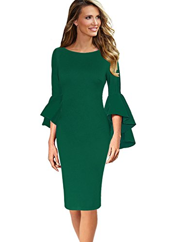 VFSHOW Womens Green Ruffle Bell Sleeves Business Cocktail Party Sheath Dress 1707 GRN 3XL