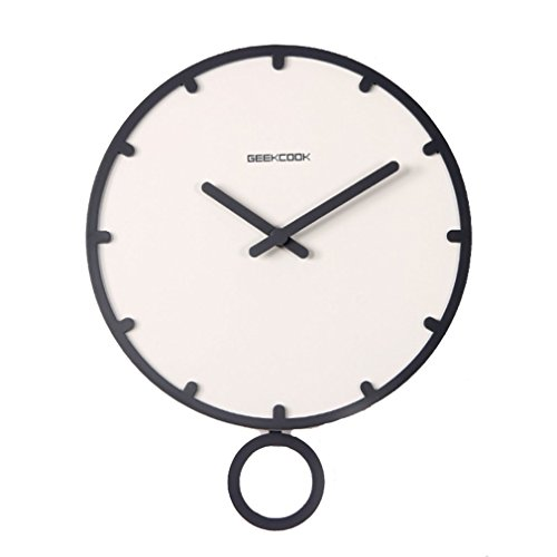 FANGDA Silent Non-ticking Round Size Swing Wall Clock with Glass Cover for Living room (12