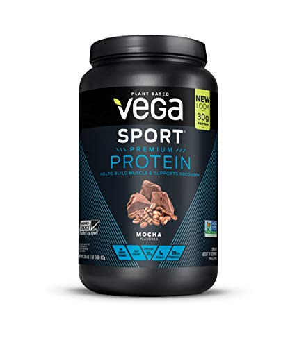 Vega Sport Protein Powder Mocha (19 Servings, 1.78 lb) - Plant-Based Vegan Protein Powder, BCAAs, Amino Acid, tart cherry, Non Dairy, Keto-Friendly, Gluten Free,  Non GMO (Packaging May Vary)