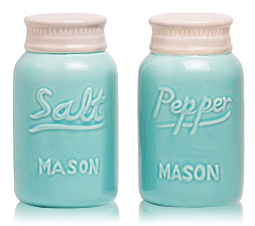 Decorative Salt and Pepper Shakers: Satisfy your Retro, Fun Country Style! Give Friends a Unique Gift of Rustic Home Décor! Cute & Chic Kitchen Accessories. Blue Vintage Ceramic Mason Jars (Large Blue Mason Jars)