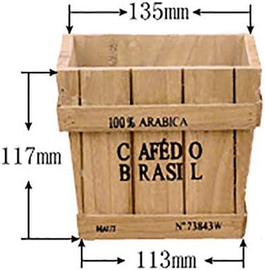 天然木フラワートラフ/フラワーポット、トラフプランター,Woodcolor-13.5×13.5×11.7cm