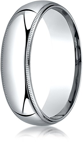 Benchmark 14K White Gold 6mm Slightly Domed Standard Comfort-Fit Wedding Ring with Milgrain, Size 11 ()