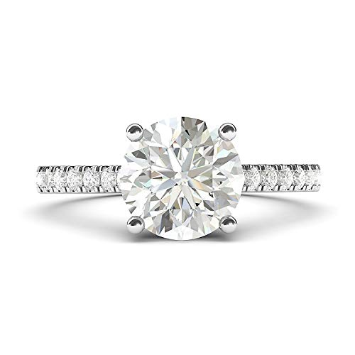 14k White Gold 2CT Classic 4-Prong Simulated Diamond Engagement Ring with Side Stones Promise Bridal Ring (5) 14k Gold Fancy Solitaire