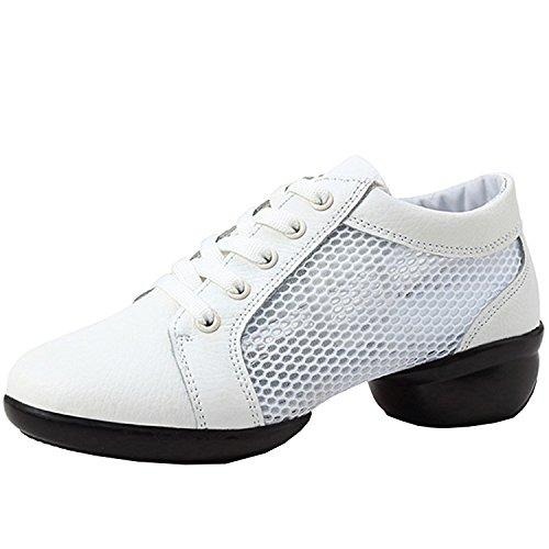 Azbro Mujer Zapato de Baile con Malla Sulea División con Cordón-arriba Blanco