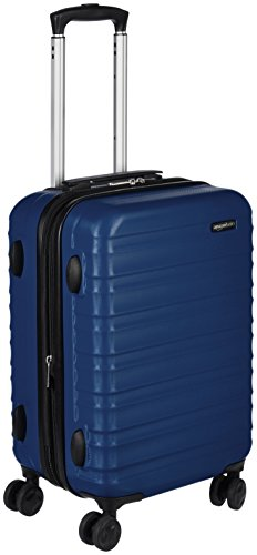 AmazonBasics Hardside Spinner Luggage - 20-inch Carry-on/Cabin Size, Navy Blue (Hardside Luggage Case)