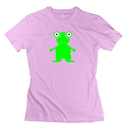 GLYCWH Women's Frog T-Shirt Pink US Size L O Neck
