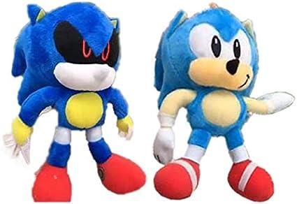 fxwl Juguete de Peluche 2pcs 18cm 7 Sonic Plush Toy Metal Sonic Stuffed Doll Super Sonic Shadow Knuckles Tails Dolls Llavero