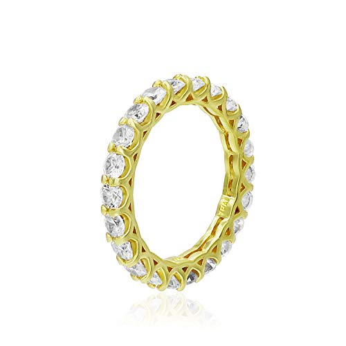 Sea of Ice Yellow Gold Flashed Sterling Silver 3mm Round-Cut CZ Cubic Zirconia Eternity Band Ring, Size 8