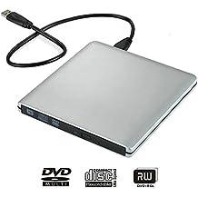 Ultra Slim USB 3.0 External DVD Drive external DVD Drive Optical Drive CD+/-RW DVD +/-RW Superdrive ,compatible with Windows, XP laptop, desktop and netbook (Silver)