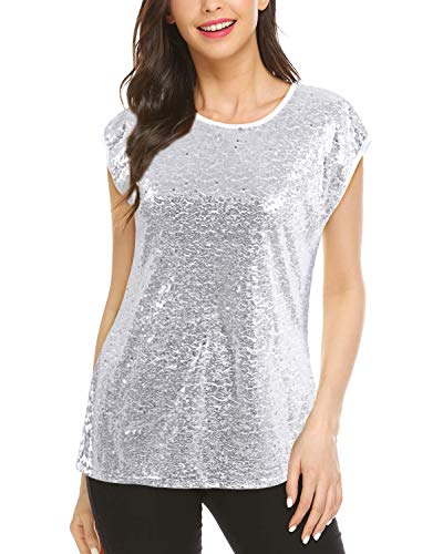 LECCECA Women Sparkle Full Sequin Tops Short Sleeve Glitter T-Shirt Blouse Cocktail Party Clubwear Silver, L