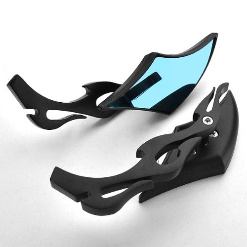 2x Universal Black Flame Fire Aluminum Stem Scimitar Blade Shape Anti Glare Side Rearview Mirror for GS500 SV650 Intruder DL650 V-Strom CB400 ZRX Moto Guzzi 1200 FZ 6R F800 Multistrada