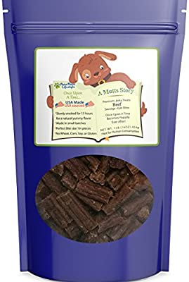 A Mutts Story Bite Size Pieces Naturally Slow Smoked Gourmet Beef Sausage Dog Jerky Treats   Gluten Free, No Corn or Soy   Crafted in Small Batches Healthy Soft Jerky Dog Treats Made in the USA   1lb