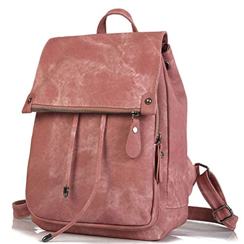 Work Zaino Chdde College rosa Pu Camping Men Viaggio For Women Satchel Unisex Leather School Laptop AxfHTq