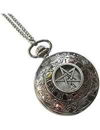 Supernatural Pentagram Pocket Watch Necklace, Pagan Pocket Watch Jewelry, Wiccan Pendant
