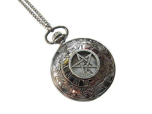 Supernatural Pentagram Pocket Watch Necklace, Pagan Pocket Watch Jewelry, Wiccan Pendant from Unknown