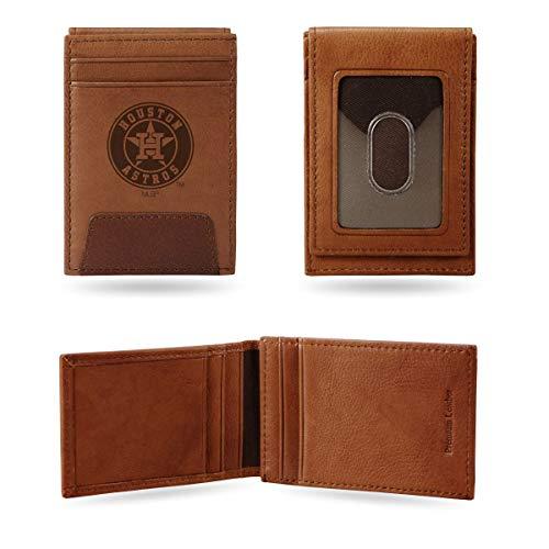Rico Houston Astros MLB Embossed Premium Brown LeatherFront Pocket Money Clip Wallet