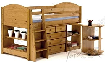 0a192f03f24b Image Unavailable. Image not available for. Colour: SOLID PINE MIDSLEEPER  CABIN BED ...