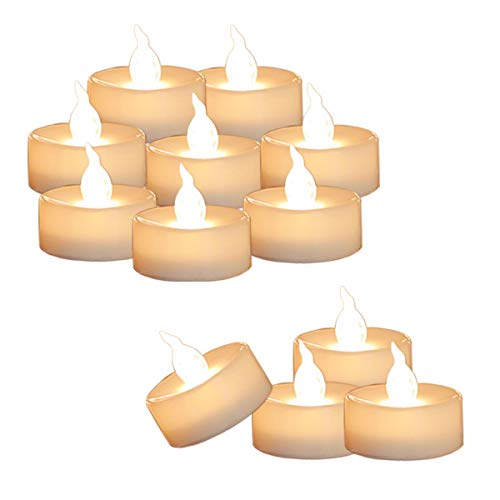 12 Tea Lights Led Flickering with Timer (6 hours on, 18 hours off), Mini Flameless Candles Tea Lights Battery Operated Flickering Warm White for Wedding Reception Christmas Party Home Decorations]()