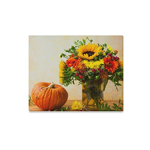 InterestPrint Abstract Autumn Still Life with Flowers and Pumpkin